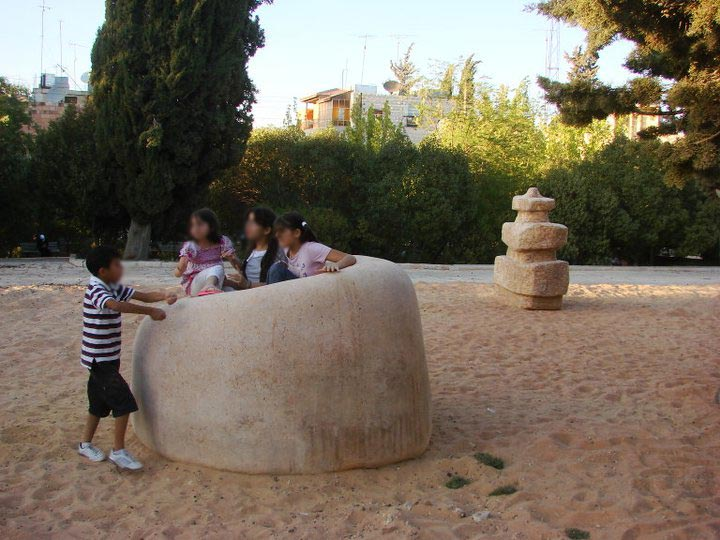 Stone sculptures at the National Gallery's park, Amman.