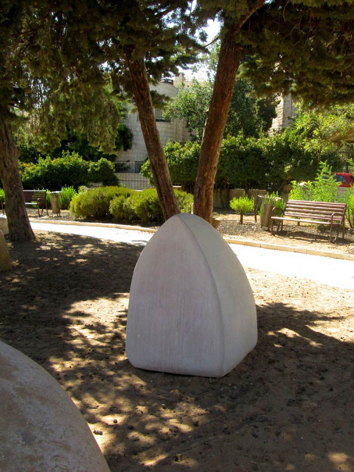 Untitled, Stone, 2015, 135 x 102 x 93 cm., one of five public sculptures in the National Gallery of Fine Arts, Amman, Jordan.