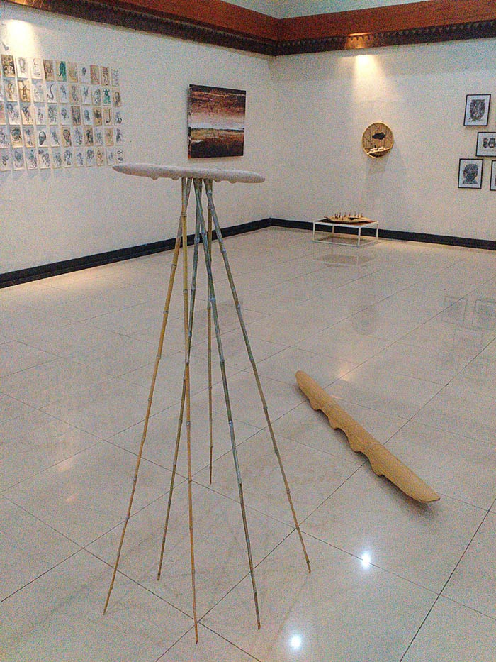 Sculptures, wood and bamboo by Anees Maani